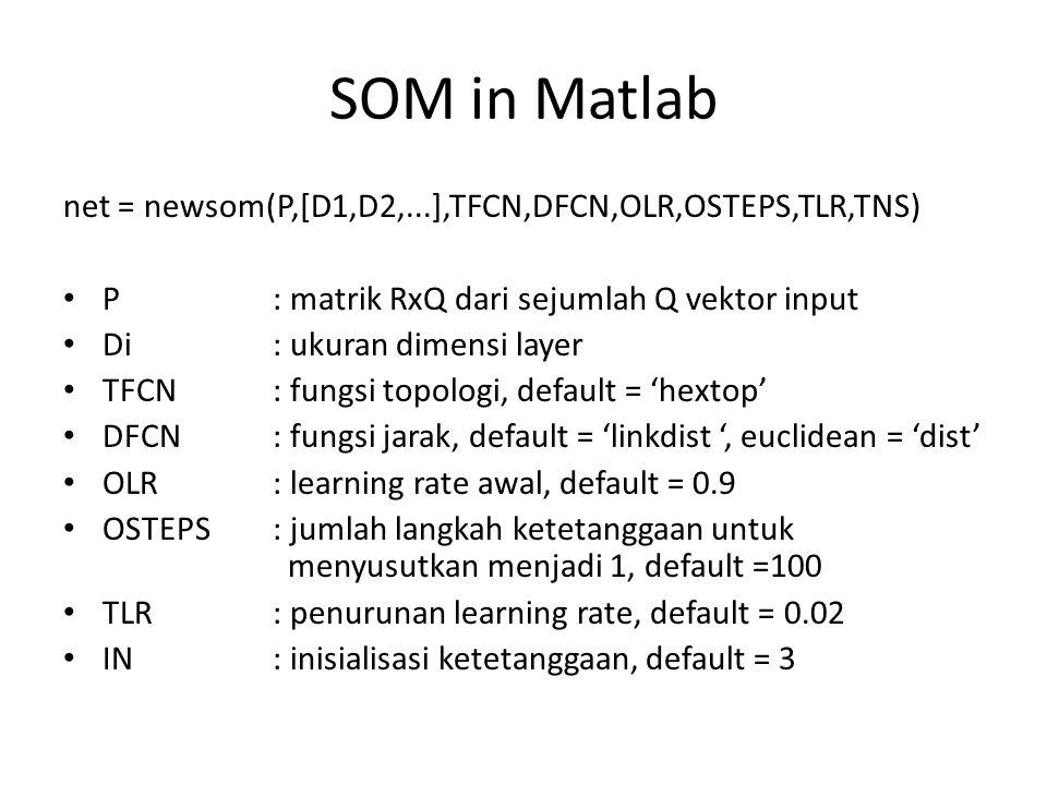 SOM in Matlab net = newsom(P,[D1,D2,...],TFCN,DFCN,OLR,OSTEPS,TLR,TNS)
